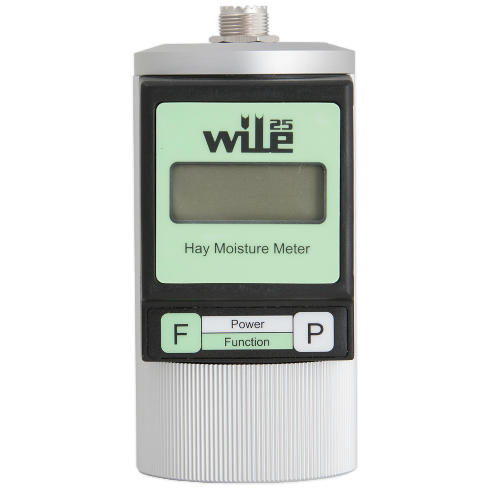 Wile 25 moisture meter for measuring moisture content in dry, wilted and fresh hay, whether baled or loose.